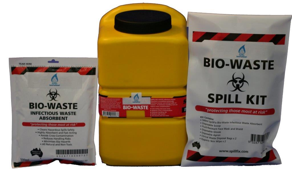 Bio waste absorbents and kits